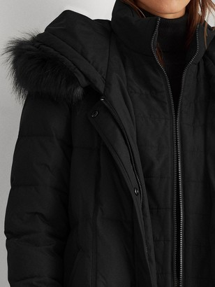 Lauren Ralph Lauren Maxi Quilted Hooded Coat - Black