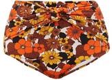 Dodo Bar Or Kayla Floral-print Knotted High-rise Bikini Briefs - Womens - Brown Print
