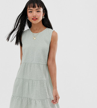 Asos DESIGN Petite sleeveless tiered mini smock dress in seersucker-Green