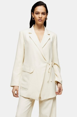 Topshop Womens **Ivory Wrap Suit Blazer By Ivory