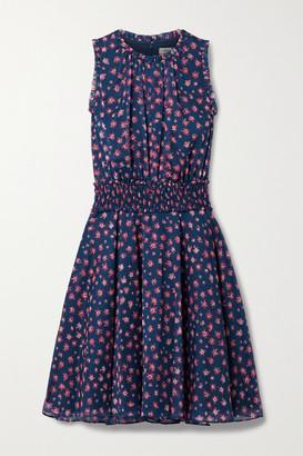 Jason Wu Shirred Floral-print Chiffon Dress - Navy