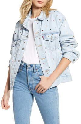 Levi's Crystal Embellished Dad Denim Trucker Jacket