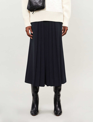Max Mara Pleated high-waist cotton midi skirt