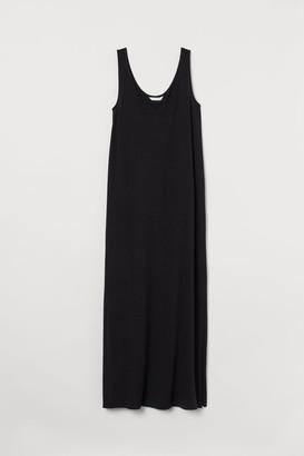 H&M Cotton-blend Jersey Dress - Black