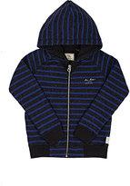 Scotch Shrunk Striped Cotton-Blend Fleece Zip-Front Hoodie-GREY