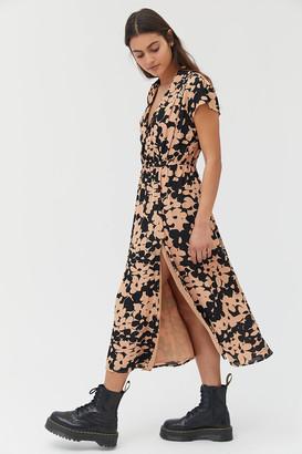 Urban Outfitters Tempo Crepe Cap Sleeve Midi Dress