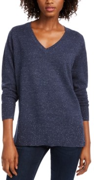 Maison Jules Cotton V-Neck Tunic Sweater, Created for Macy's