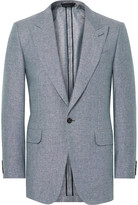 Dunhill Blue Slim-Fit Slub Silk and Linen-Blend Blazer