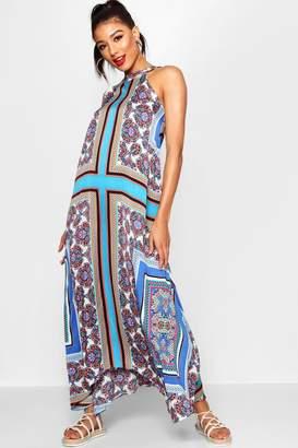 boohoo Lo Bohemian Scarf Print High Neck Hanky Hem Maxi Dress