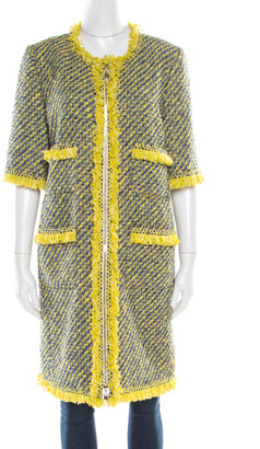 Louis Vuitton Yellow and Blue Tweed Fringed Trim Long Coat L