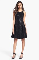 Milly Sequin Fit & Flare Dress