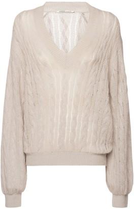 Agnona Cashmere Drop Needle Cable Knit Sweater