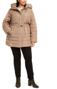 Michael Kors Michael Plus Size Hooded Belted Puffer Coat With Faux-Fur Trim