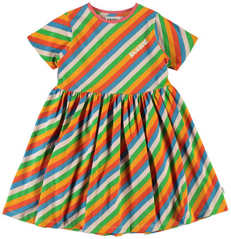 Molo Girl's Chasity Rainbow Striped Cotton Dress, Size 2-12