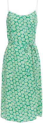 HVN Susan Belted Floral-print Silk Crepe De Chine Dress
