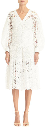 Carolina Herrera V-Neck Lace Eyelet Dramatic Puff-Sleeve Flounce Dress