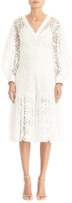 Carolina Herrera V-Neck Lace Eyelet Dramatic Puff-Sleeve Flounce Dress