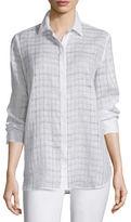 Lafayette 148 New York Brody Sheer-Grid Linen Long-Sleeve Blouse