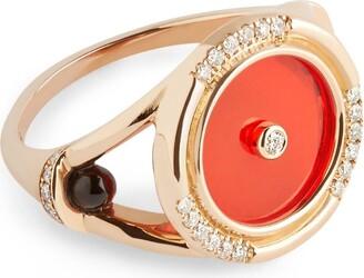 L'ATELIER NAWBAR Rose Gold, Diamond and Agate Amulets of Light Ring