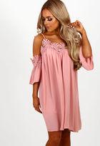 Pink Boutique Primrose and Proper Pink Crochet Trim Cold Shoulder Dress