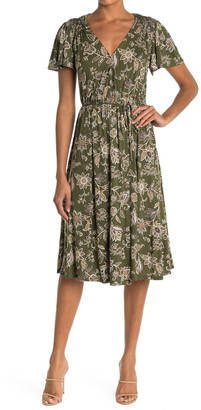 Spirit Of Grace Isidora Floral Wrap Midi Dress