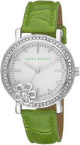 Laura Ashley Ladies Green Floral Stone Bezel Watch La31013Gr