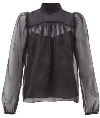 Rochas Neck-tie Silk-organza Blouse - Womens - Black