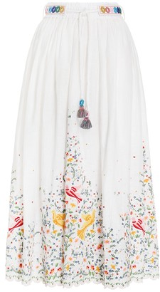 Zimmermann Carnaby Embroidered Bird Skirt