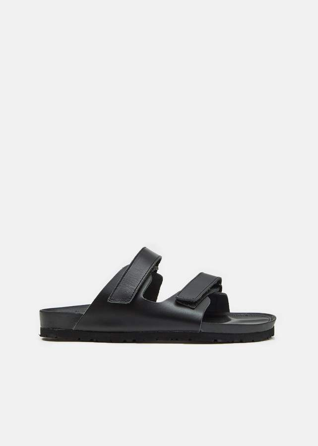 Y's Leather Velcro Sandals Black