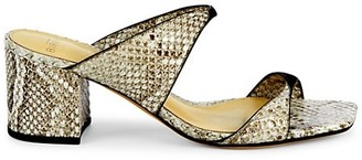 Alexandre Birman Miki Python-Embossed Leather Mules