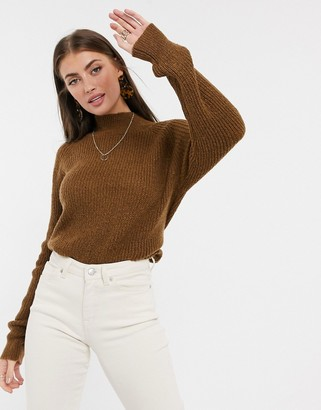 Vila high-neck knitted jumper in brown