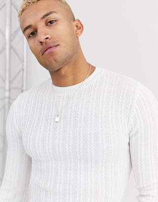 Asos Design DESIGN muscle fit cable knit sweater in white