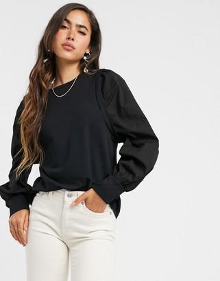 Vero Moda sweat top with poplin puff sleeves in black