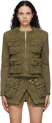 Balmain Khaki Denim Collarless Jacket