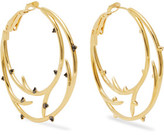 Noir Enchanted Gold-Tone Crystal Hoop Earrings