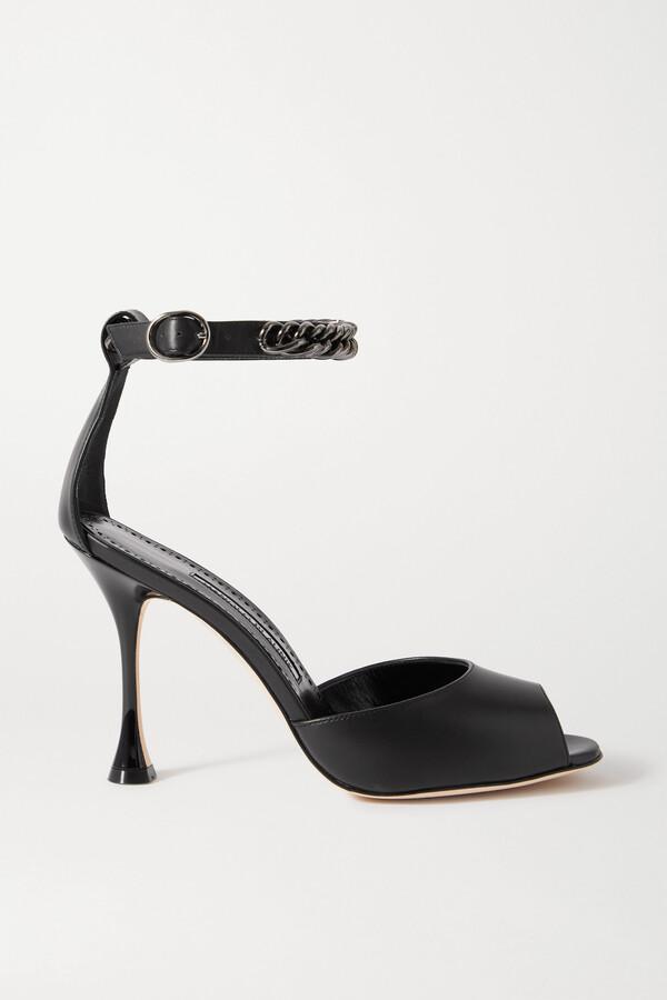 Manolo Blahnik Fombra Chain-embellished Leather Sandals - Black