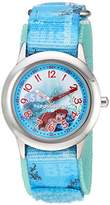 Disney Girl's 'Ariel' Quartz Stainless Steel and Nylon Casual Watch, Color:Blue (Model: WDS000047)