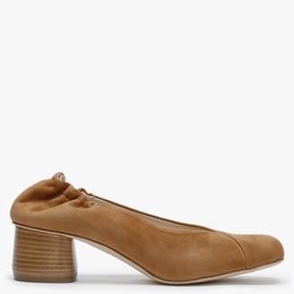 Daniel Millie Tan Suede Square Toe Court Shoes