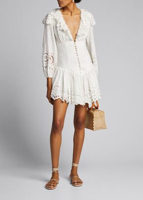 Zimmermann Bellitude Scalloped Short Dress