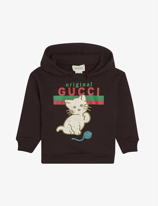 Gucci Original log-print and cat-embroidered cotton hoody 6-36 months