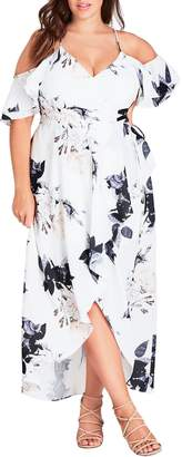 City Chic Floral Print Ruffle Maxi Dress