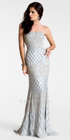 Silver Embellished Beaded Evening Gowns by Nika