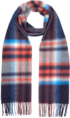 Johnstons of Elgin Check print cashmere scarf