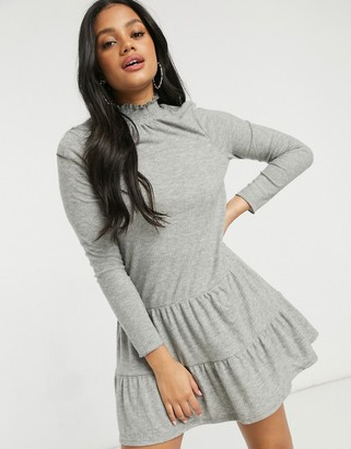 Miss Selfridge tiered smock dress in gray