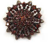 Avalaya Amber Coloured Crystal Dimensional Floral Corsage Brooch (Antique Tone)