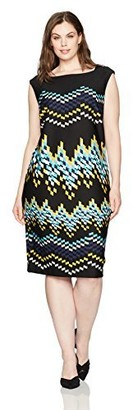 Gabby Skye Women's Plus Size Full Figured Geometrical Printed Cap Sleeved Sheath Dress