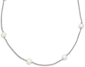 Sterling Silver Rhodium-plated and Freshwater Cultured Pearl with mirror Beads Necklace by Versil