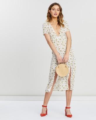 Missguided Plunge Split Midi Daisy Dress