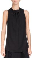 Proenza Schouler Sleeveless Crepe Top w/Barbell Detail, Black