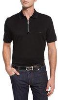Salvatore Ferragamo Tipped Zip-Front Polo Shirt, Black
